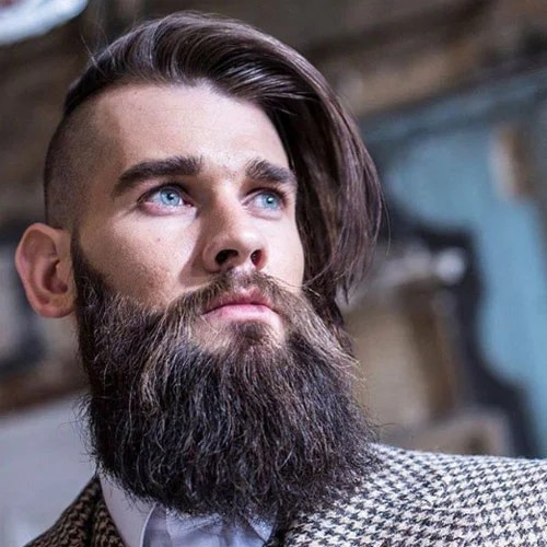 Long Brown Combover Undercut Full Beard