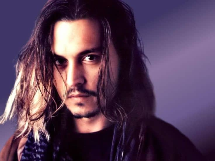 Johnny Depp with Long Brown Hair And Thin Moustache
