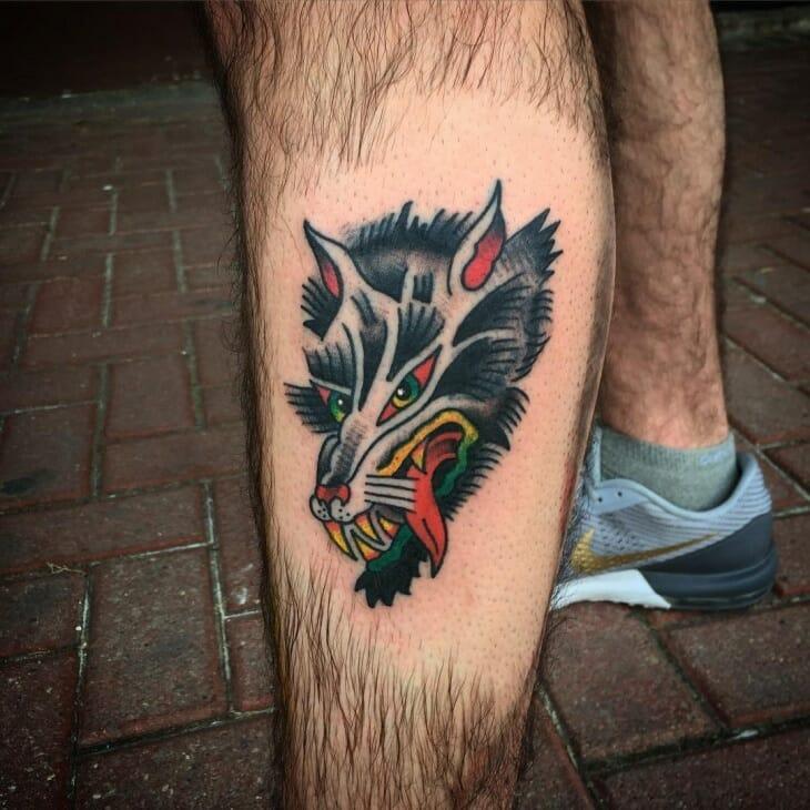 Trendy Wolf Tattoo