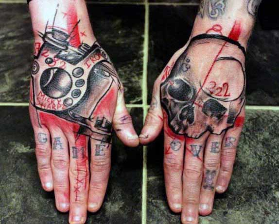 Abstract Skull Hand Tattoo