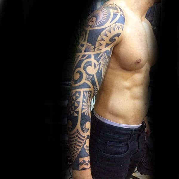 55187d3e4 101 Tribal Arm Tattoo ideas for Men, incl chest and back! - Outsons