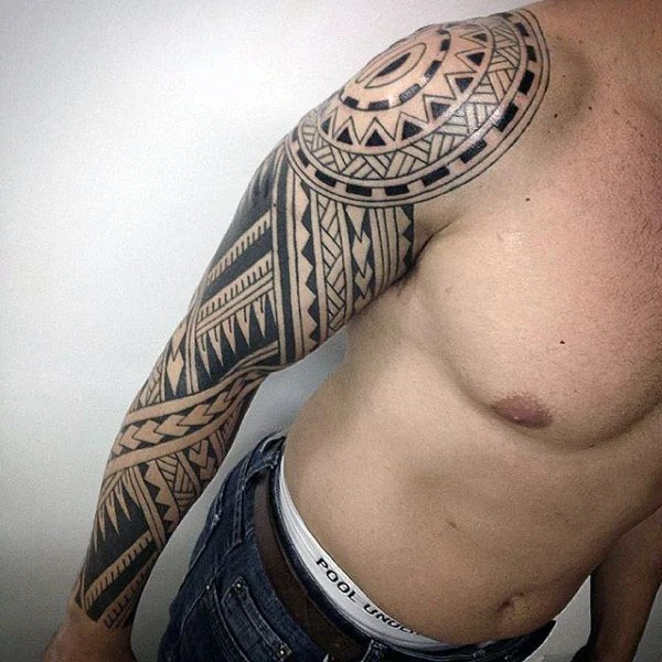 Polynesian Tribal Full Sleeve Arm Tattoo