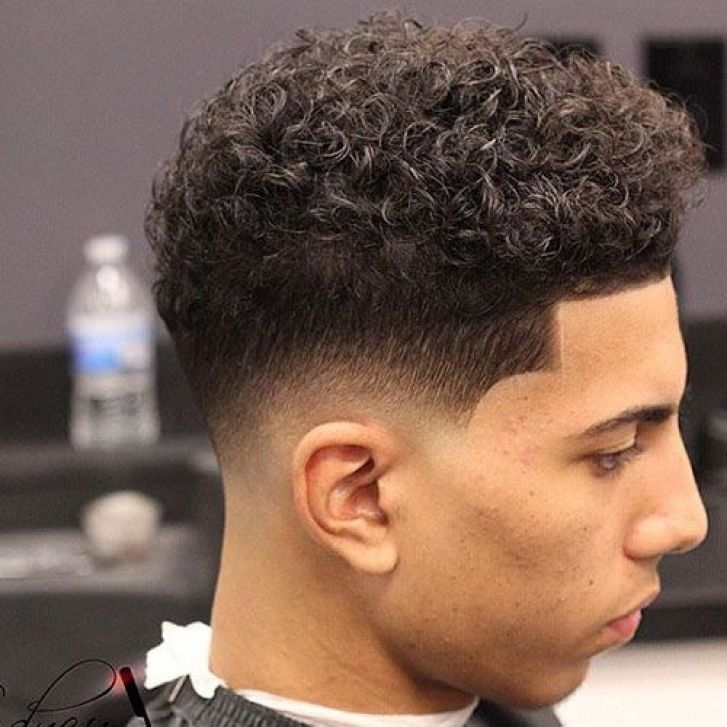 Low Fade Dark Hair with Textured Afro