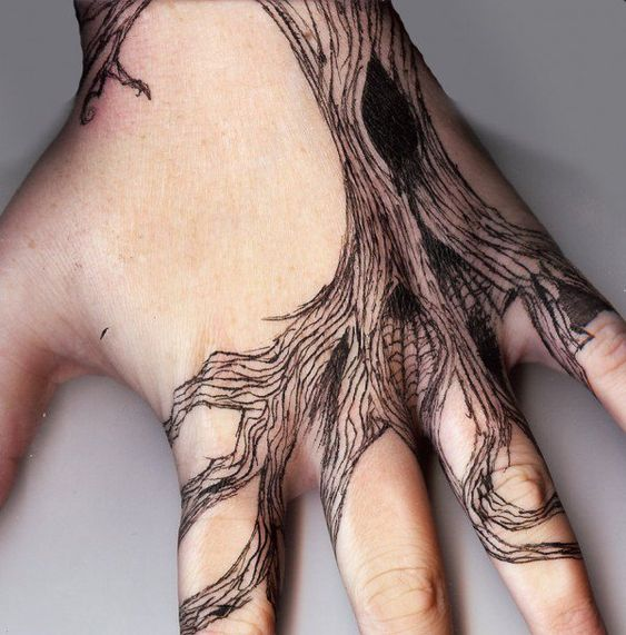 Tree Roots Hand Tattoo