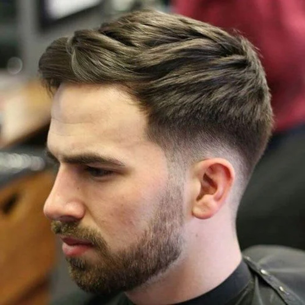 Low Fade with Textured Swept Hairstyle