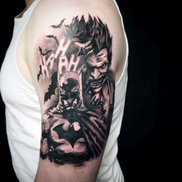 Batman & The Joker Themed Upper Arm Tattoo