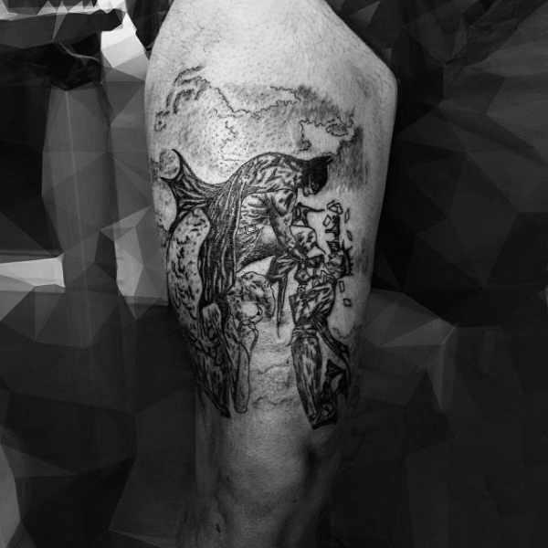 Batman Logo Leg Tattoo