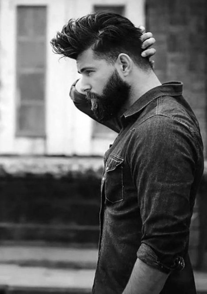 Natural Styled Medium Hair with Thick Amazing Beard