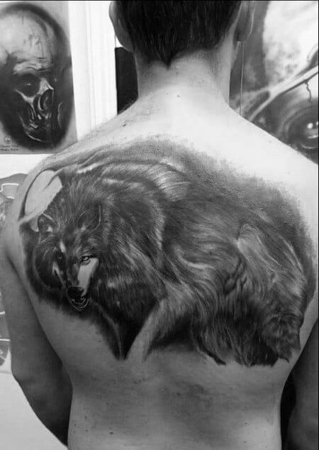 Black & Grey Shade Wolf Tattoo