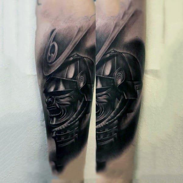 Samurai Mask Forearm Tattoo