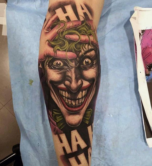 The Joker Negative Space Sleeve Arm Tattoo