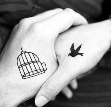 Bird & Cage Hand Tattoo