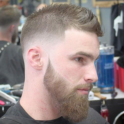 Crew Cut with Low Fade & Beard