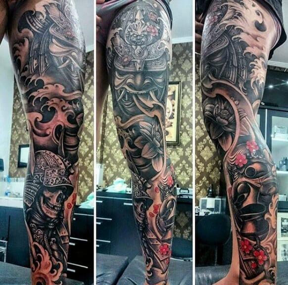 Evil Samurai Mask & Skull Tattoo