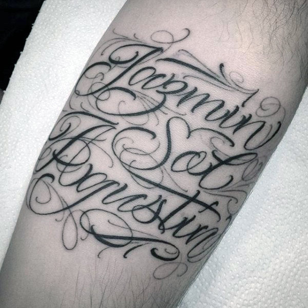 Fancy Lettering Forearm Name Tattoo