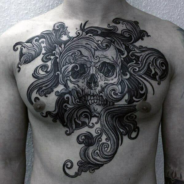 Ornate Skull Chest Tattoo