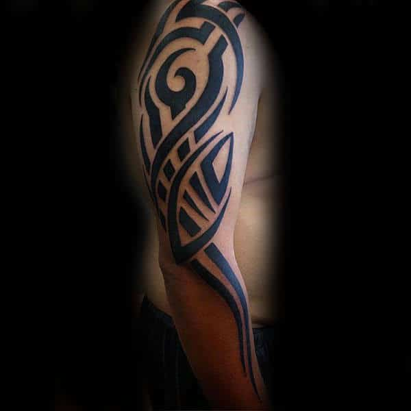 Full Arm Tribal Design Tattoo