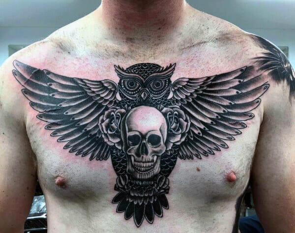 Skull Tattoo & Owl