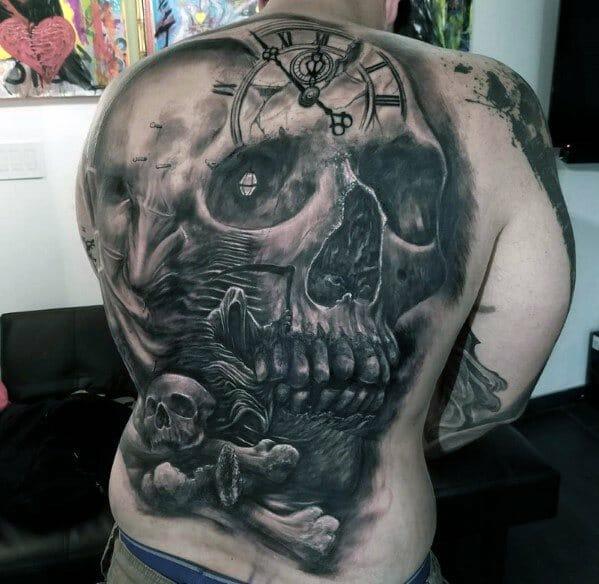 Clock Skull Tattoo