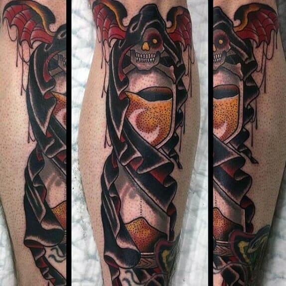 Grim Reaper Leg Tattoo