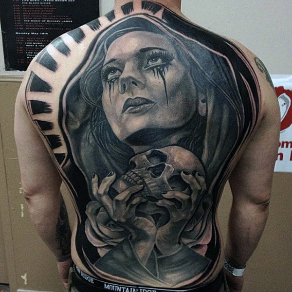 Lady with Bloody Tears Tattoo