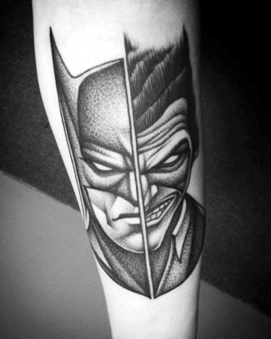 The Joker vs Batman Black & White Tattoo