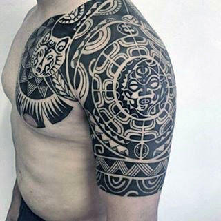 Hawaiian Tribal Half Sleeve & Chest Tattoo with Sun Designs