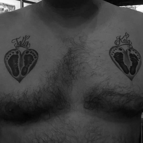 Heart Footprints with Kids Name Upper Chest Tattoo