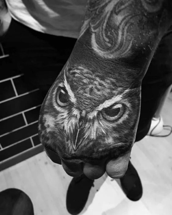 Owl Hand Tattoo