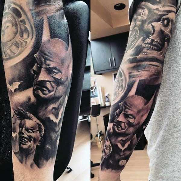 Batman Full Arm Sleeve Tattoo