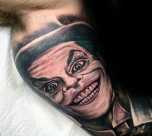 The Joker Inner Arm Bicep Tattoo