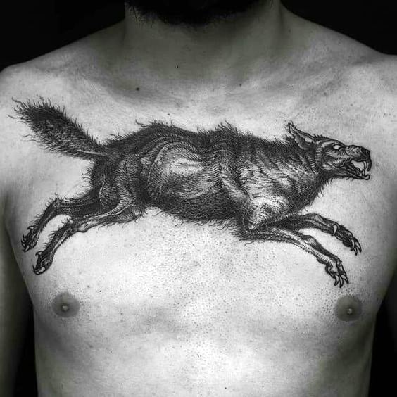 Leaping Wolf Tattoo