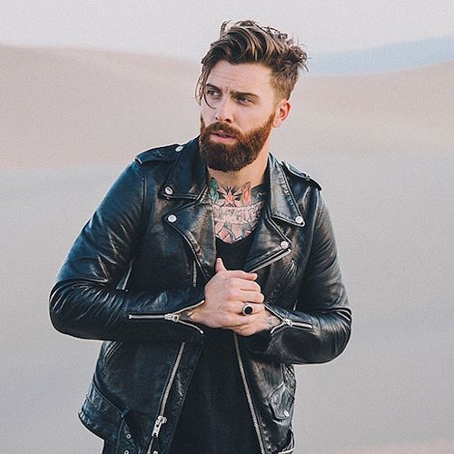 Loose Slicked Hair Undercut with Groomed Full Beard