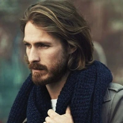 Medium Length Hair with Brown Full Beard