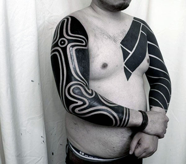 Full Arm Blackwork Tribal Sleeves