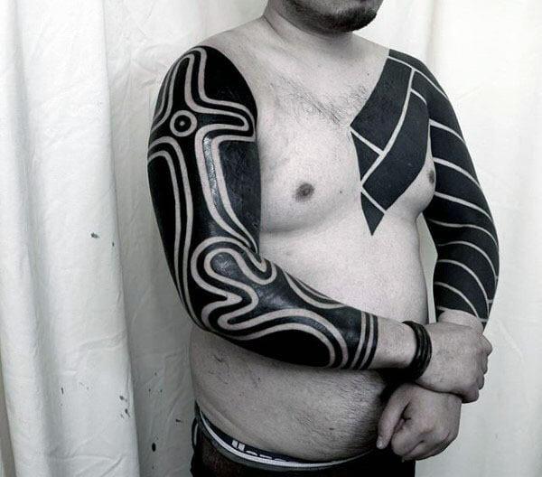 Full Arm Blackwork Tribal Sleeves
