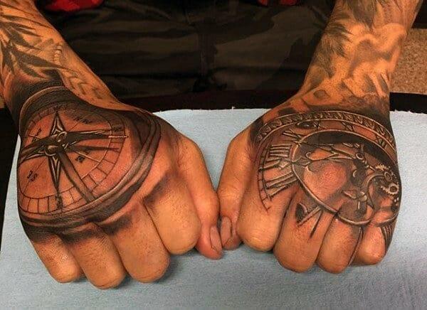 Nordic Compass Hand Tattoo