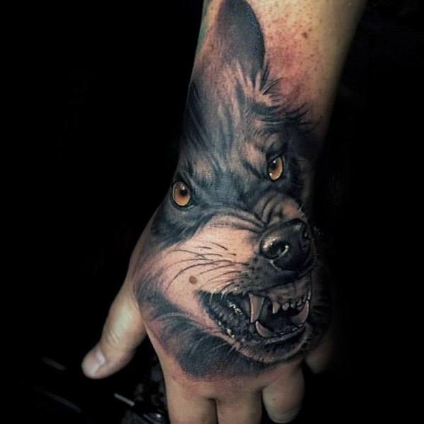 3D Wolf Hand Tattoo