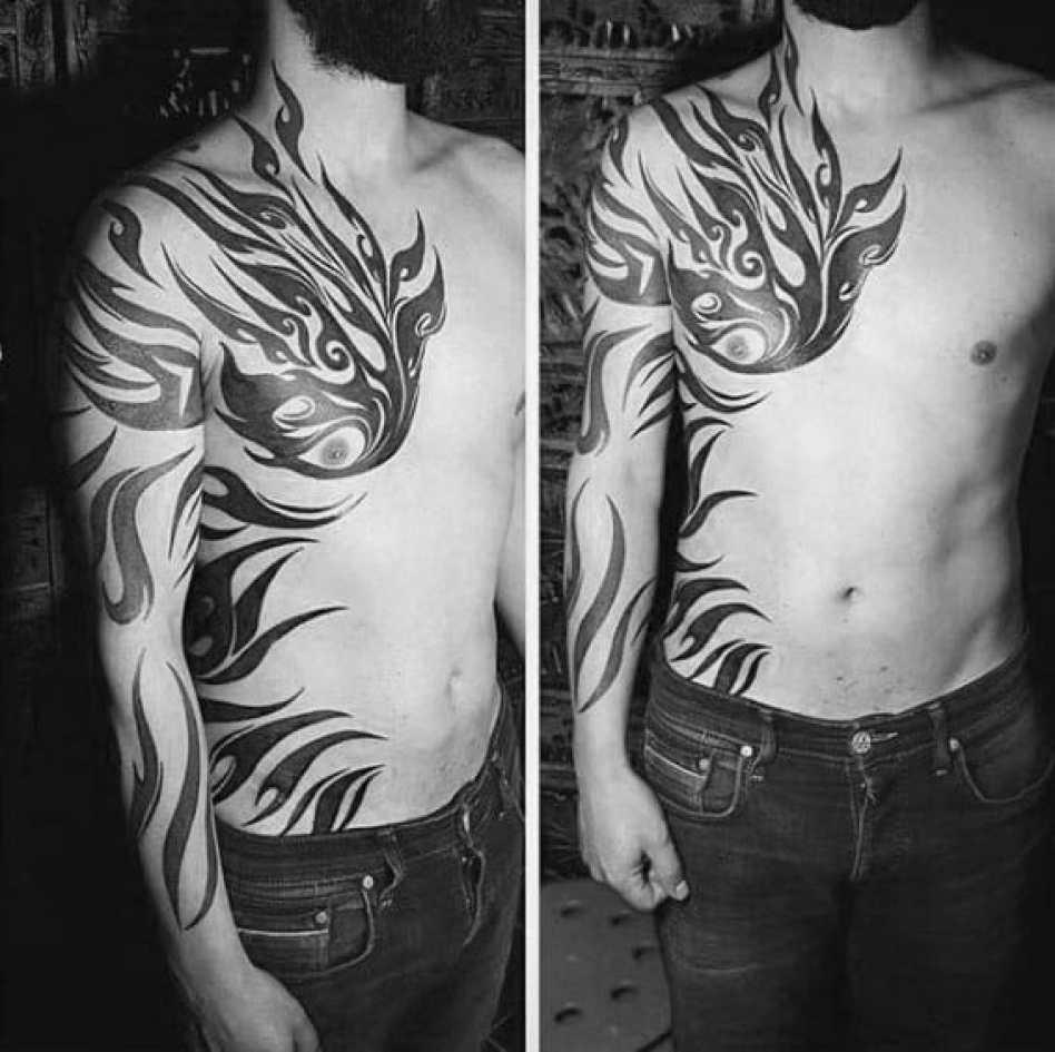 Cool Tribal Arm & Rib Tattoo