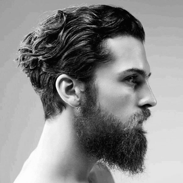Brown Wavy Medium Hair with Full Scruff Beard