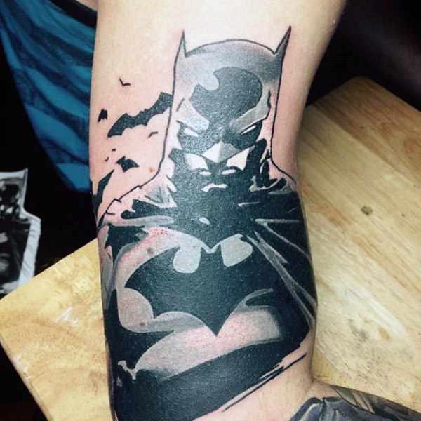 Cartoon Batman Bicep Tattoo