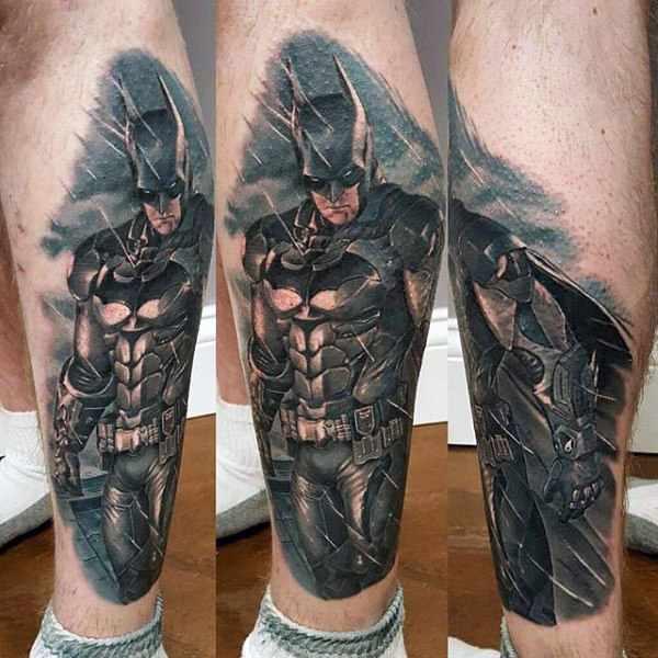 Lower Leg Batman Tattoo