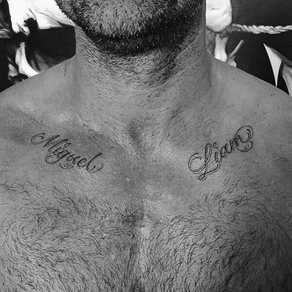 Small Name Collar Bone Tattoo