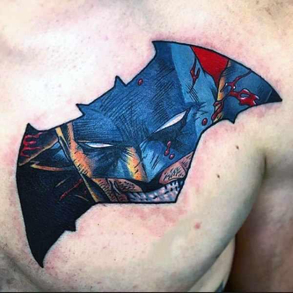 Upper Chest Tattoo Batman Symbol