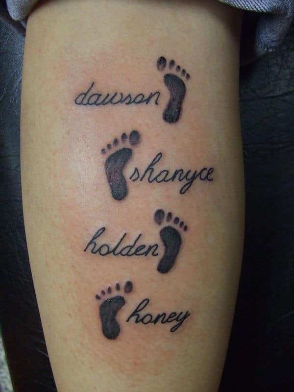 Kids Names & Footprints Tattoo Idea