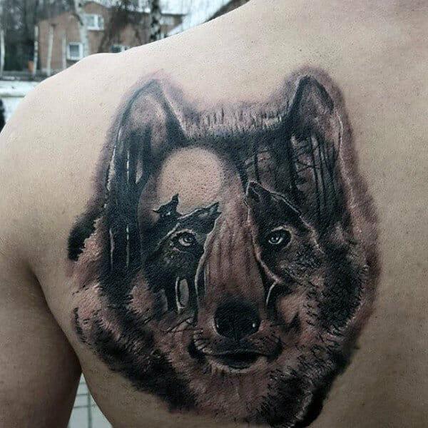 Optical Illusional Wolf Tattoo
