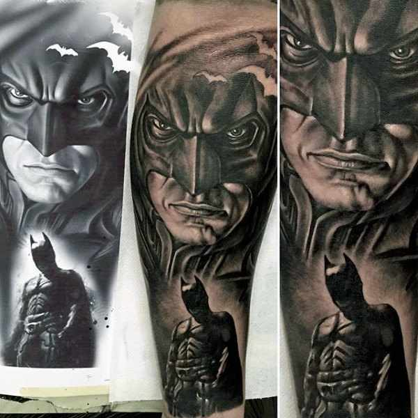 Realistic Batman Tattoo Design