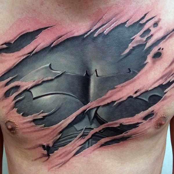 Ripped Skin Batman Suit Chest Tattoo