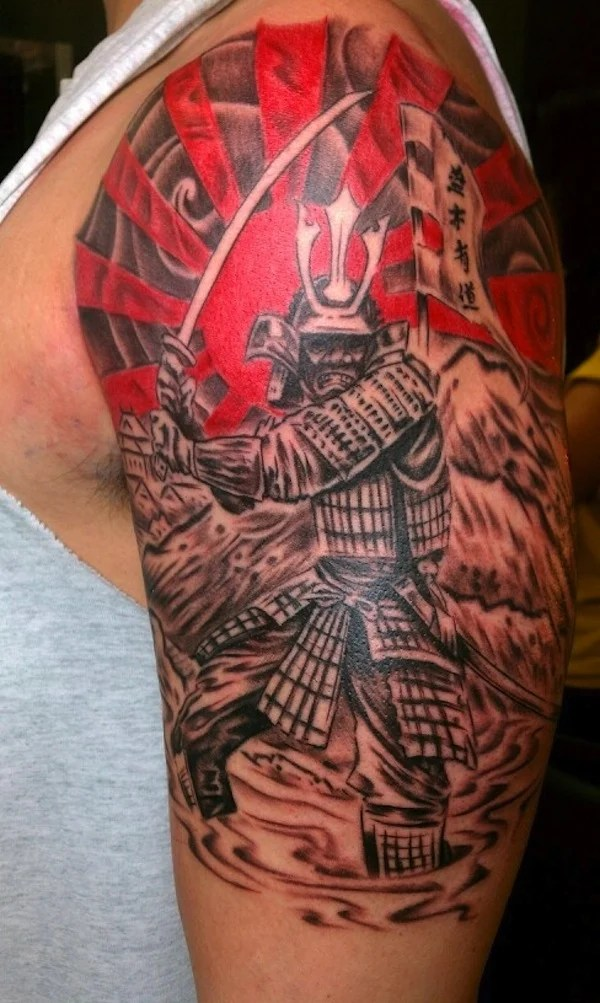 samurai tattoo with flag