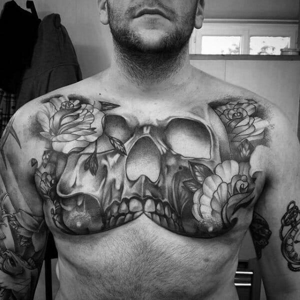 Black & Grey Skull Chest Tattoo